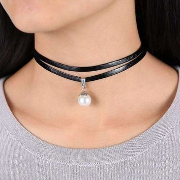ON SALE - Pearl Bead Solitaire Two Strand Black Leatherette Choker Necklace