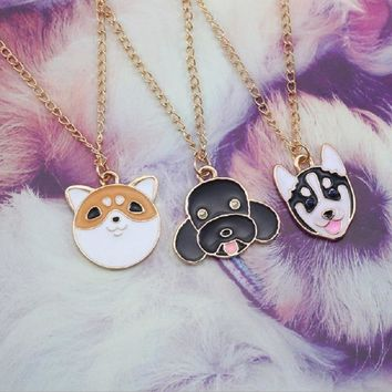 Cartoon Pet Dog Necklace For Women Japanese Akita Siberian Husky Teddy Bear Dog Necklaces Pendants Animal Jewelry Collier Femme