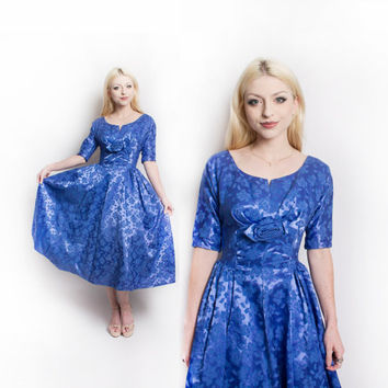 Vintage 1950s Dress - Royal Blue Satin Brocade Full Skirt Party Cocktail 50s - Small S