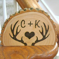 Wedding Cake Topper Rustic Wood Burned Deer Antlers Personalized