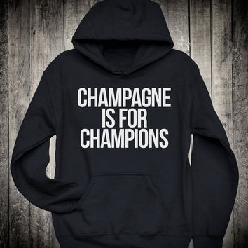 Champagne Is For Champions Cute Running Slogan Hoodie Funny Running Quote Sweatshirt Gym Fitness Tops