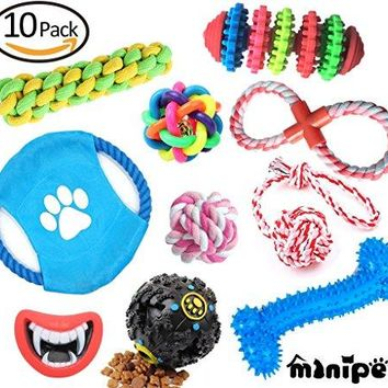 Interactive Chew Squeak Toy Teeth Cleaning Ball Cotton Rope 10 Pack Gift Set For Puppy