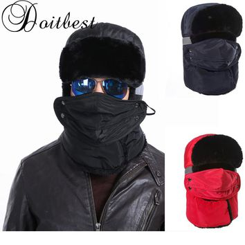 Doitbest Winter fur hats for women Windproof Thick warm winter For cold weather snow cap Face Mask mens ushanka Russian hat
