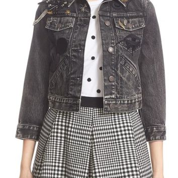MARC JACOBS Embellished Shrunken Denim Jacket | Nordstrom