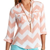 CHEVRON PRINT BUTTON-UP PULLOVER BLOUSE