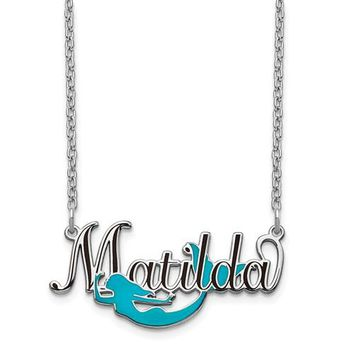 Personalized Epoxied Sterling Silver Mermaid Name Necklace