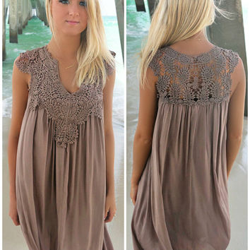 St. George's Caye Mocha Crochet Neck Sundress