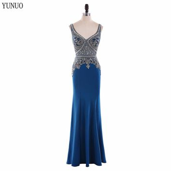 Real Sample Sexy V Neck Satin Mermaid Beading Long Prom Dresses 2018 Spaghetti Strap Backless Floor Length Prom Dress YN62304