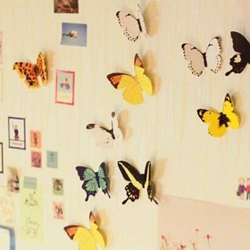 Butterfly Wall Stickers Home Decor Sticker 12pcs/lot Decal Mural for Creative Vintage Home Appliances Rooms Color Butterfly