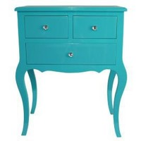 One Kings Lane - Blue  White - Wooden Side Table w/ 3 Drawers, Aqua