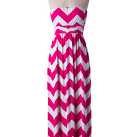 Fuchsia and White Chevron Maxi