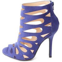 Laser Cut-Out Peep Toe Stiletto Heels by Charlotte Russe - Cobalt
