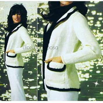 Knitting JACKET Pattern Vintage 70s Black and White Blazer Sweater Pattern Coat Pattern Blazer Pattern Knitting Pattern Cardigan Pattern