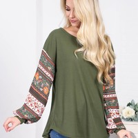 Hippie Green Floral Sleeve Top