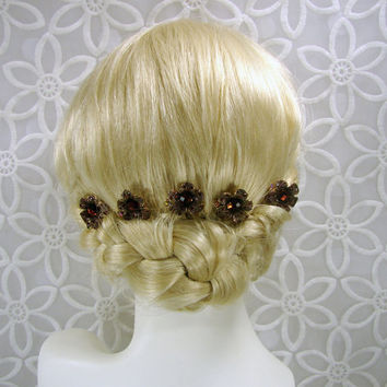 Cognac Wedding Bridesmaid Hairpins Root Beer Brown Rhinestone Hair Comb Amber Hairpiece Aurora Borealis Bohemian Chic Boho Accessories Gold
