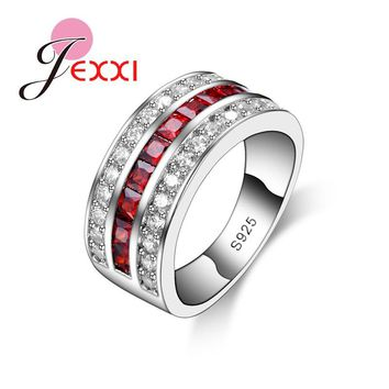 JEXXI Hot Unique Design Simple Clear Micro CZ   Engagement Party Rings For Woman And Men S925 Stamped Sterling Silver Ring