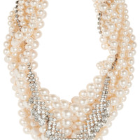Tom Binns - Grand Dame rhodium-plated, Swarovski pearl and crystal necklace