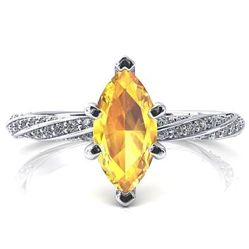 Elysia Marquise Yellow Sapphire 6 Prong 3/4 Eternity Diamond Accent Ring