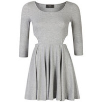 AX Paris Women's Cut Out Long Sleeve Skater Dress - Grey 			Womens Clothing | TheHut.com