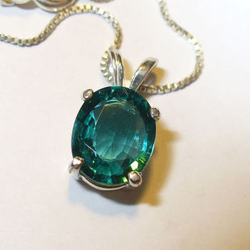 Teal Apatite Pendant in Solid Sterling Silver Setting -Genuine, Natural Gemstone