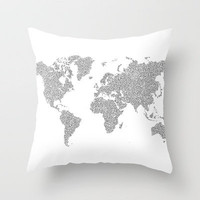World Map Circuit Motif  Throw Pillow by tenbobpete | Society6