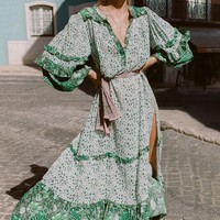 Long Sleeve Dress Bohemian Green Dress Maxi Dresses Women Split Sexy Beach Dress Plus Size S-2XL