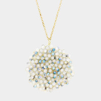Aqua Blue Beaded Disc Pendant Long Necklace