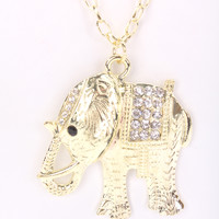 Gold High Polish Metal Elephant Pendant Necklace
