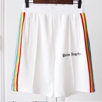 2018 new Hip-hop japan High Quality PA Palm Angels Men Women Shorts Rainbow Drawstring kanye west Shorts Cotton White S-XXL