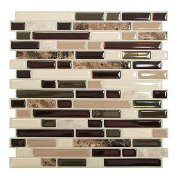 Smart Tiles Mosaik Random Self Adhesive High-Gloss Mosaic in Brown & Beige - Walmart.com