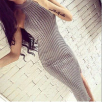 Trend The Knitting Halter Slits Slim dress