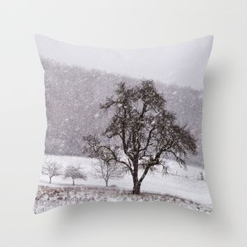 Old pear tree on a wintery meadow Throw Pillow by Pirmin Nohr
