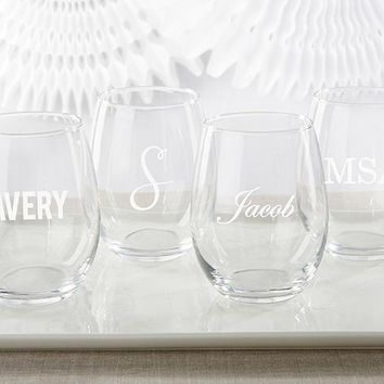 Personalized 15 oz. Stemless Wine Glass - Engraved