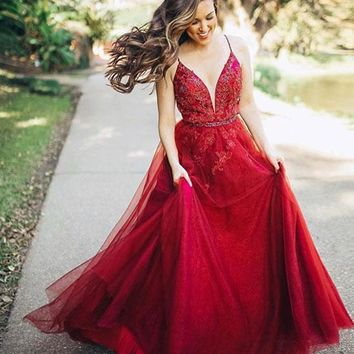 Burgundy V Neck Tulle Long Prom Press burgundy evening dress Cheap Formal Dress P1290