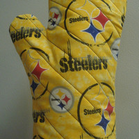 Oven Mitt Pittsburgh Steelers Gold by TheGoodOleDays on Etsy