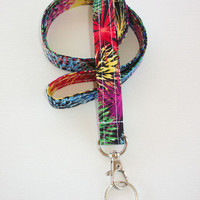 Lanyard  ID Badge Holder - Color burst - Lobster clasp and key ring