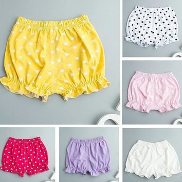 Newborn Infant Baby Girls Cotton Dot Solid Ropa de Bebe Pants Bloomers Shorts Diaper Nappy Cover Underwear Underpants Panties