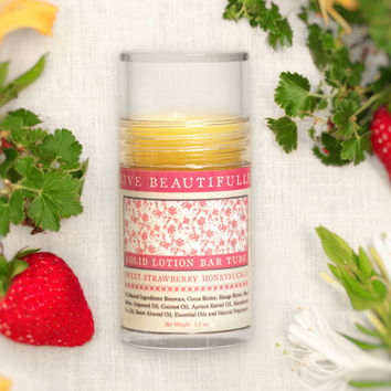 Lotion Bar, Sweet Strawberry Honeysuckle - Summer Strawberries and Crisp Florals - All Natural Lotion Tube