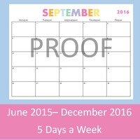 Printable Calendar, 5 Day Calendar, 5 Day Weekly Planner, Teacher Planner Printables, Teacher Calendar Template, 8.5 x 11 Pages, 2015