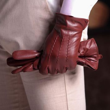 Harssidanzar Luxury Mens Leather Gloves Vintage Finished Wool Lined Top Quality Italian Sheepskin Winter Warm Leather Gloves Men