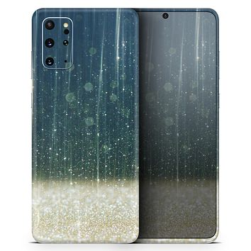 Scratched Blue and Gold Showers - Skin-Kit for the Samsung Galaxy S-Series S20, S20 Plus, S20 Ultra , S10 & others (All Galaxy Devices Available)
