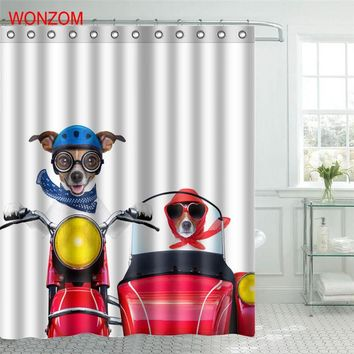 WONZOM Funny Dog Polyester Fabric Shower Curtain SPA Bathroom Decor Waterproof Animal Cortina De Bano With 12 Hooks Gift 2017