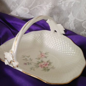 MIKASA Remembrance Bone China Tidbit Basket Pink Rose Floral Discontinued B2120 Gold Trim Mint