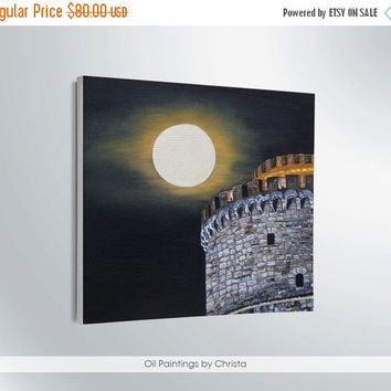 Easter gift On Sale TOWER  painting Oil painting Moon painting Illustration Greek art Moon art  Wall art Tower Thessaloniki Gift idea Greece