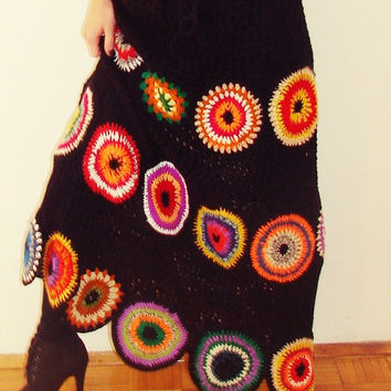 Long boho skirt, gypsy skirt, crochet, geometric