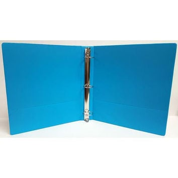 "1"" Basic 3-Ring Binder w/ Two Inside Pockets - Cyan"