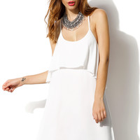 White Mesh Spaghetti Strap Double Layered Dress