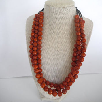 Stunning Brick Red Sponge Coral Triple Strand Twisted Necklace Brass Toggle Gift fashion under 40