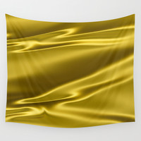 Gold sparkling silk folds Wall Tapestry by Natalia Bykova