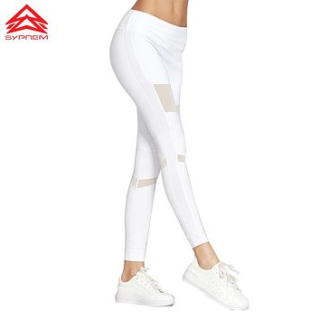 Syprem  Spring Women Sexy Yoga Sports Pants Compression Leggings Hollow Mesh Leggings Gym Skinny Fitness Sportswear,1FP1014